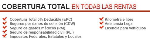 Lowest Alquiler de Coches en, Playa del Carmen, la Riviera Maya y Tulum | COBERTURA TOTAL EN TODAS LAS RENTAS DE AUTO. Cobertura Total 0% Deducible (EPC). Seguros por daños de colision (CDW) Seguro de gastos medicos (PAI). Seguro de responsabilidad civil (PLI). Impuestos Federales, Estateles y Locales. Kilometraje Libre. Asistencia Legal. Licencia para vehiculos