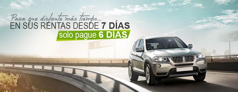 Renta un auto o camioneta en México DF por 7 días y paga 6.